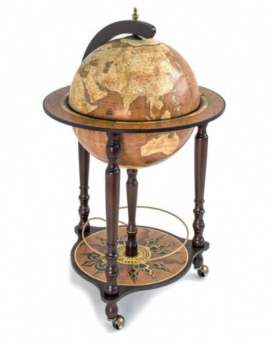 Da Vinci Rust Italian Globe Bar Antique World Globe