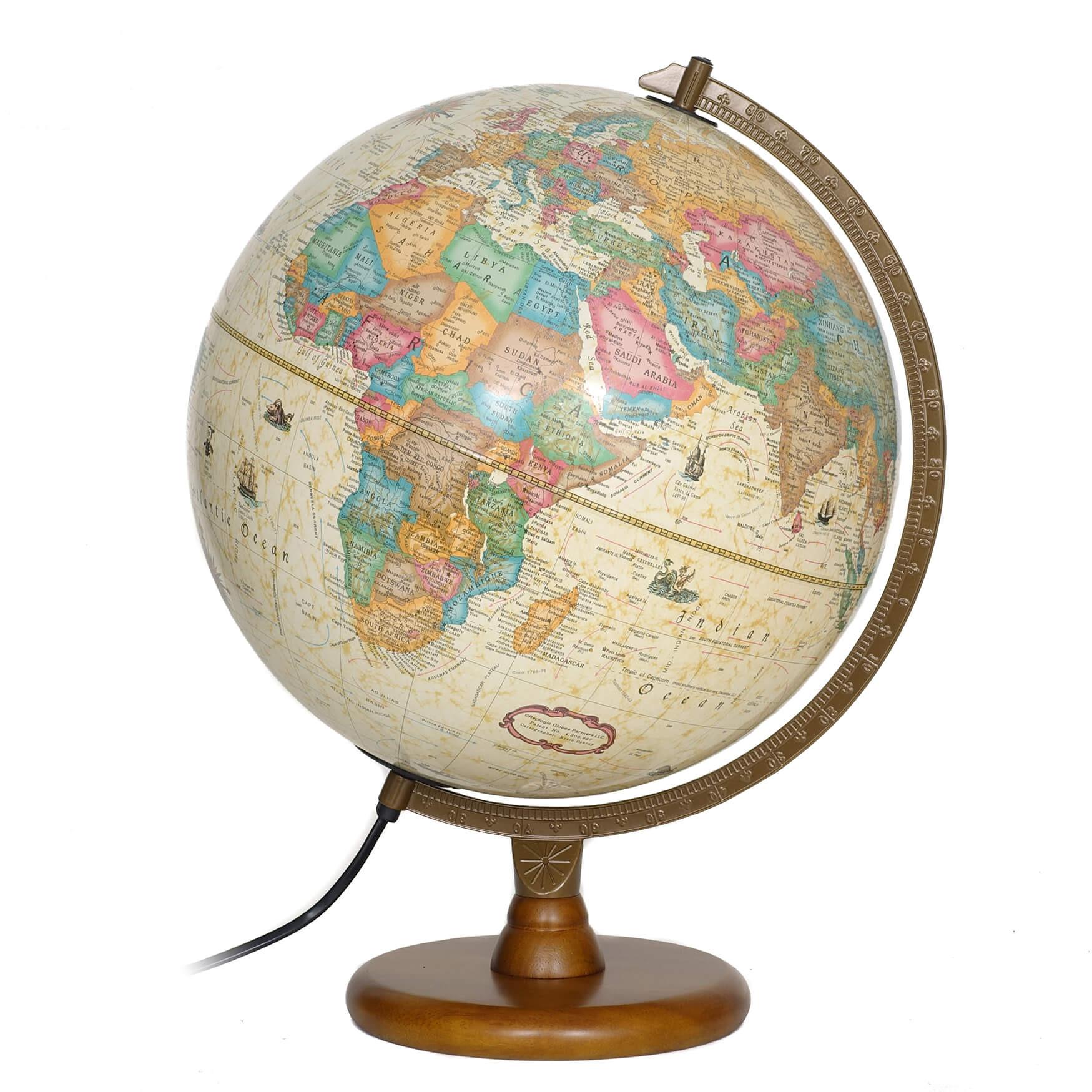 Hastings Antique Illuminated Globe