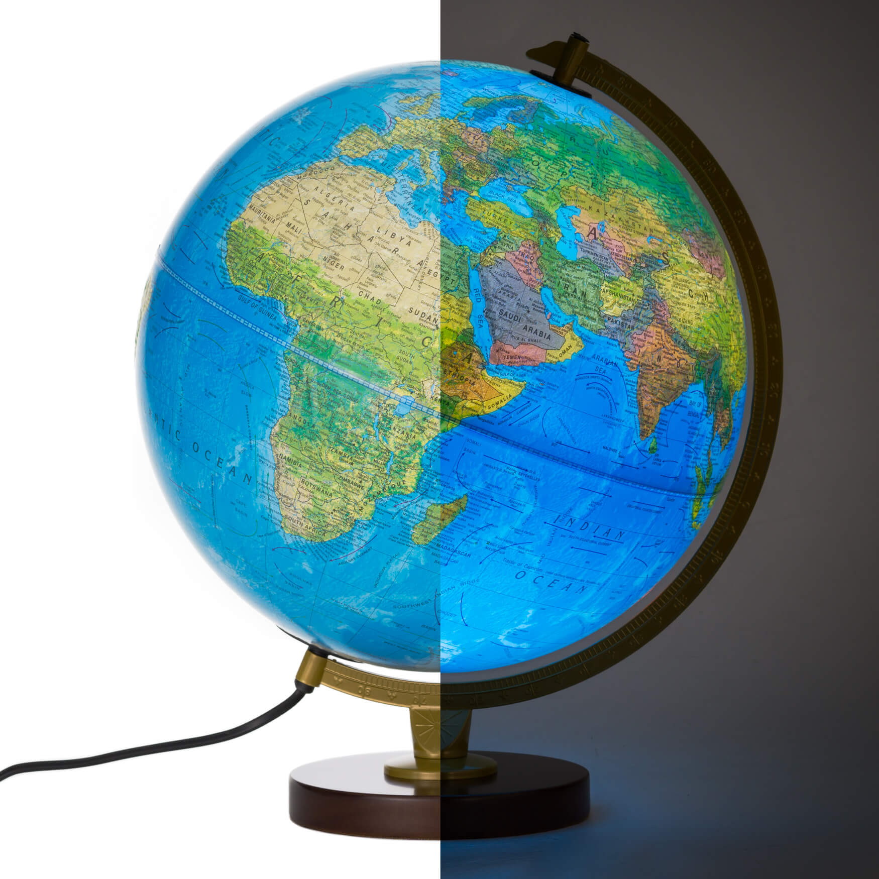 Livingston world globe with dual mapping